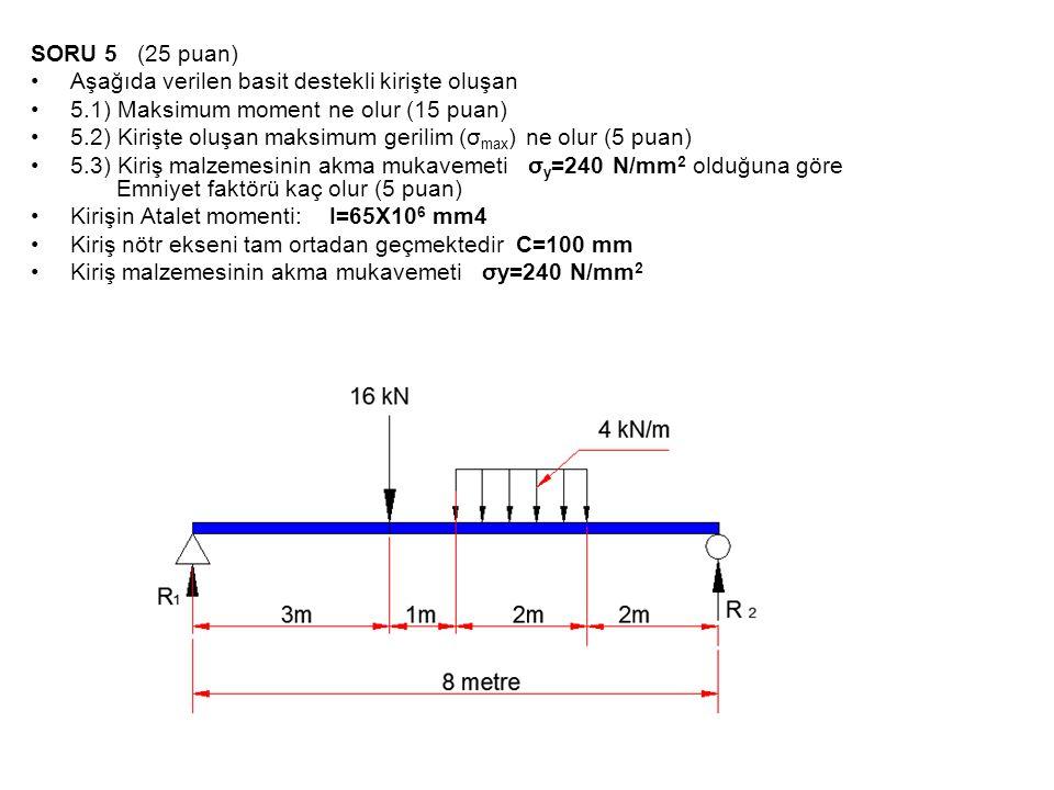 SORU 5 (25 puan) •Aşağıda verilen basit destekli kirişte oluşan •5.1) Maksimum moment ne olur (15 puan) •5.2) Kirişte oluşan maksimum gerilim (σ max )