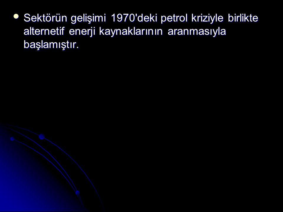  Sektörün gelişimi 1970 deki petrol kriziyle birlikte alternetif enerji kaynaklarının aranmasıyla başlamıştır.