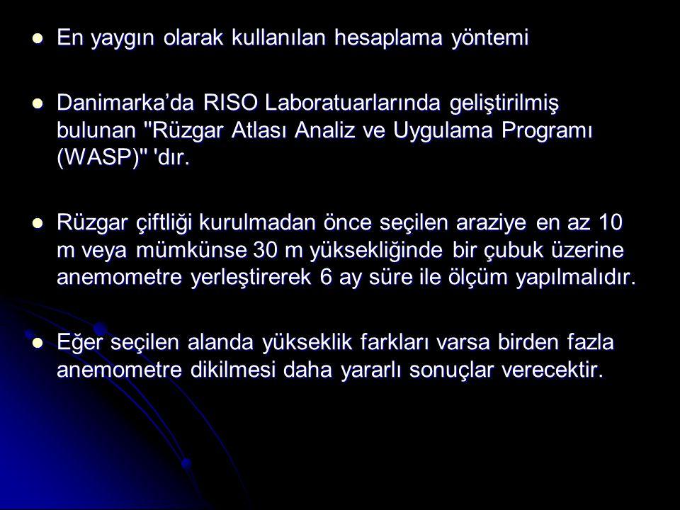  En yaygın olarak kullanılan hesaplama yöntemi  Danimarka'da RISO Laboratuarlarında geliştirilmiş bulunan Rüzgar Atlası Analiz ve Uygulama Programı (WASP) dır.