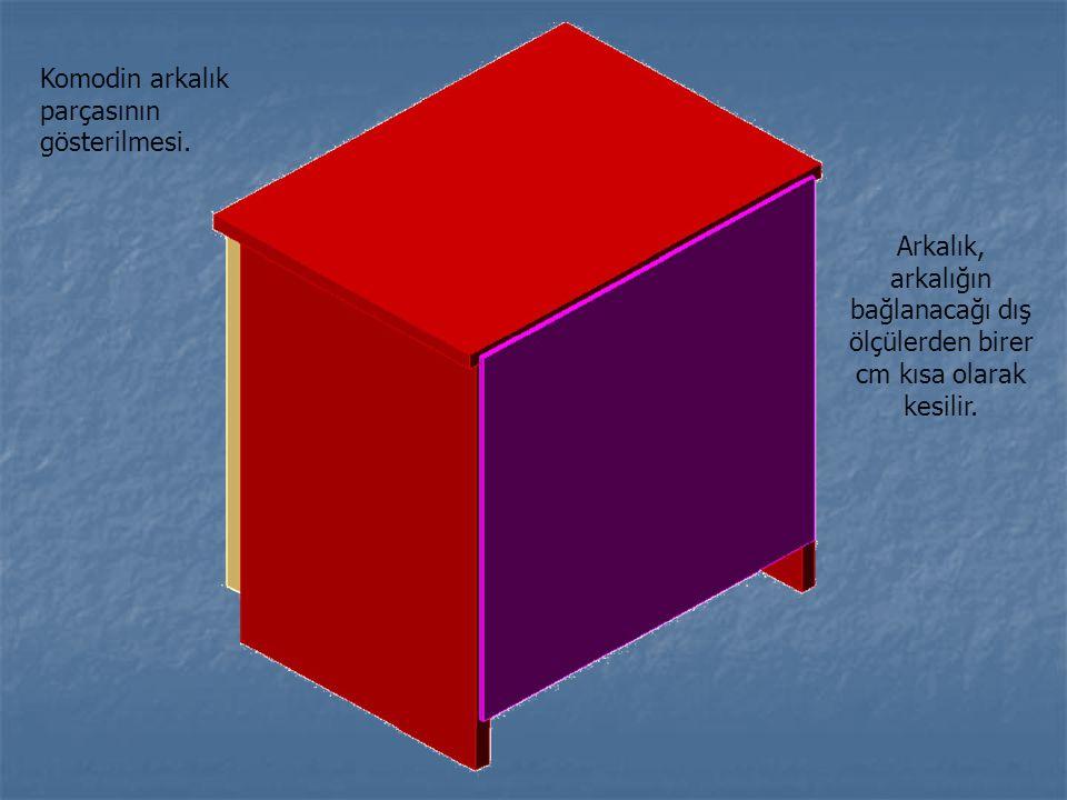 Arkalık, arkalığın bağlanacağı dış ölçülerden birer cm kısa olarak kesilir. Komodin arkalık parçasının gösterilmesi.