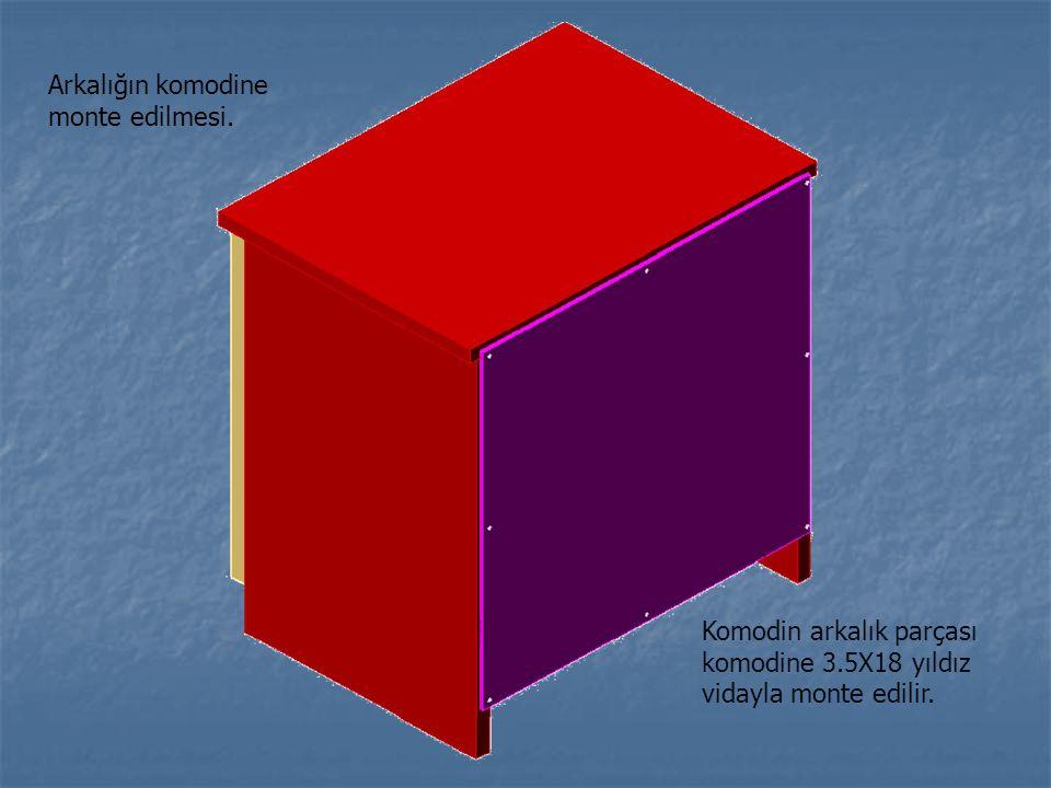 Komodin arkalık parçası komodine 3.5X18 yıldız vidayla monte edilir. Arkalığın komodine monte edilmesi.