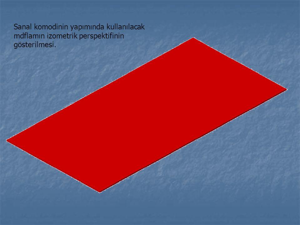 Komodin yan parçası ve komodin alt parçasının birleştirilmeden önceki halinin gösterilmesi.