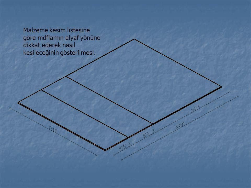 Komodin yan parçalarının ve alt parçasının birleştirilmeden önceki halinin gösterilmesi.