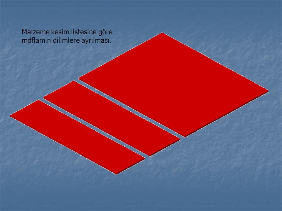 Malzeme kesim listesine göre mdflamın en az fire verecek şekilde nasıl kesilmesi gerektiğinin gösterilmesi 37X49 40X55 51X53 37X58 51X53 49X6,5