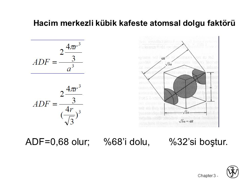 Hacim merkezli kübik kafeste atomsal dolgu faktörü ADF=0,68 olur; %68'i dolu, %32'si boştur.