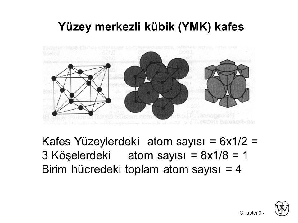 Chapter 3 - Yüzey merkezli kübik (YMK) kafes Kafes Yüzeylerdeki atom sayısı = 6x1/2 = 3 Köşelerdeki atom sayısı = 8x1/8 = 1 Birim hücredeki toplam atom sayısı = 4