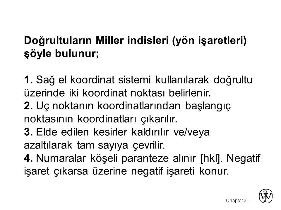 Chapter 3 - Doğrultuların Miller indisleri (yön işaretleri) şöyle bulunur; 1.