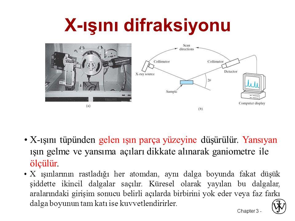 Chapter 3 - X-ışını difraksiyonu •X-ışını tüpünden gelen ışın parça yüzeyine düşürülür.