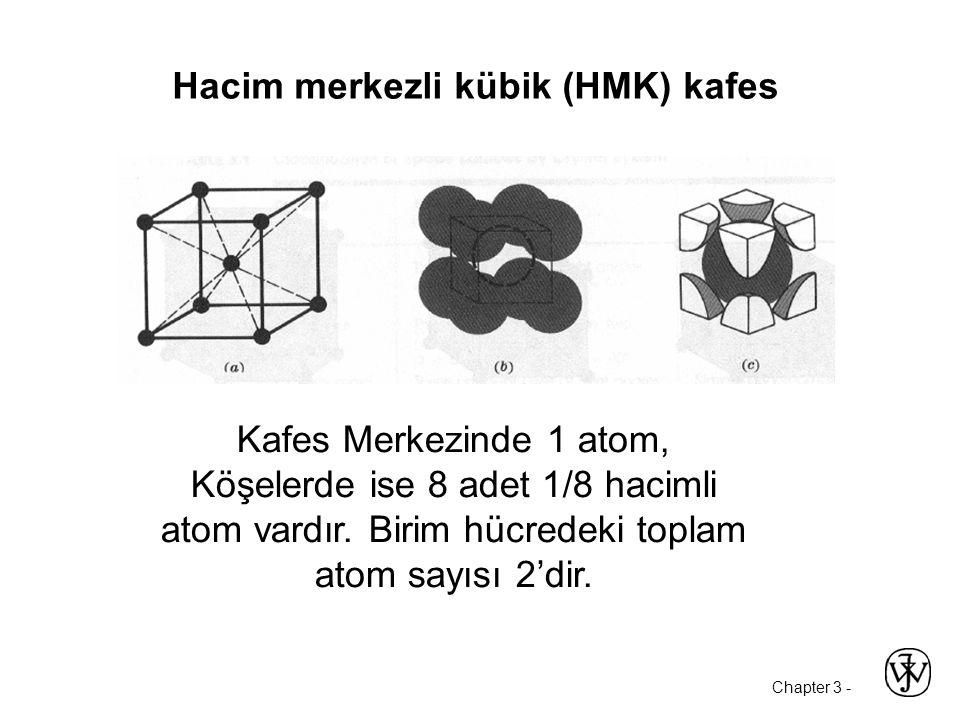 Chapter 3 - Hacim merkezli kübik (HMK) kafes Kafes Merkezinde 1 atom, Köşelerde ise 8 adet 1/8 hacimli atom vardır.