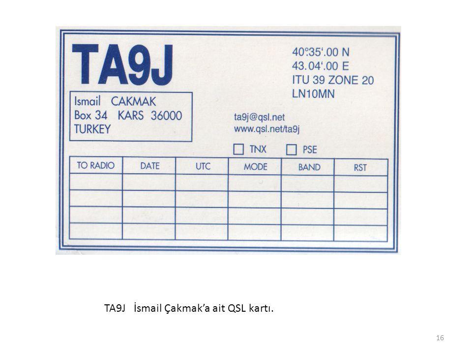 TA9J İsmail Çakmak'a ait QSL kartı. 16