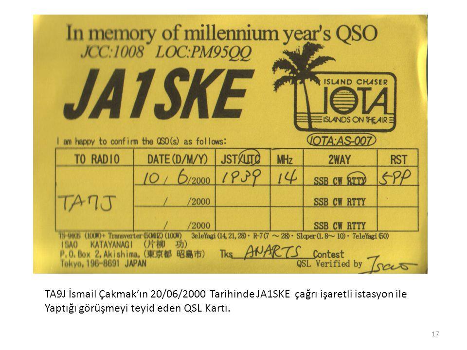 TA9J İsmail Çakmak'ın 20/06/2000 Tarihinde JA1SKE çağrı işaretli istasyon ile Yaptığı görüşmeyi teyid eden QSL Kartı.