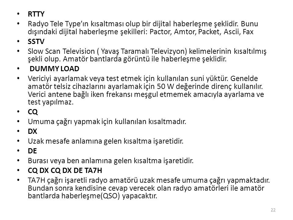 • RTTY • Radyo Tele Type'ın kısaltması olup bir dijital haberleşme şeklidir.
