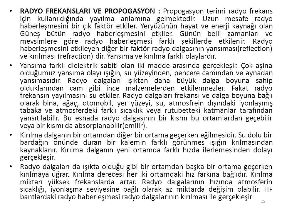 • RADYO FREKANSLARI VE PROPOGASYON : Propogasyon terimi radyo frekans için kullanıldığında yayılma anlamına gelmektedir. Uzun mesafe radyo haberleşmes