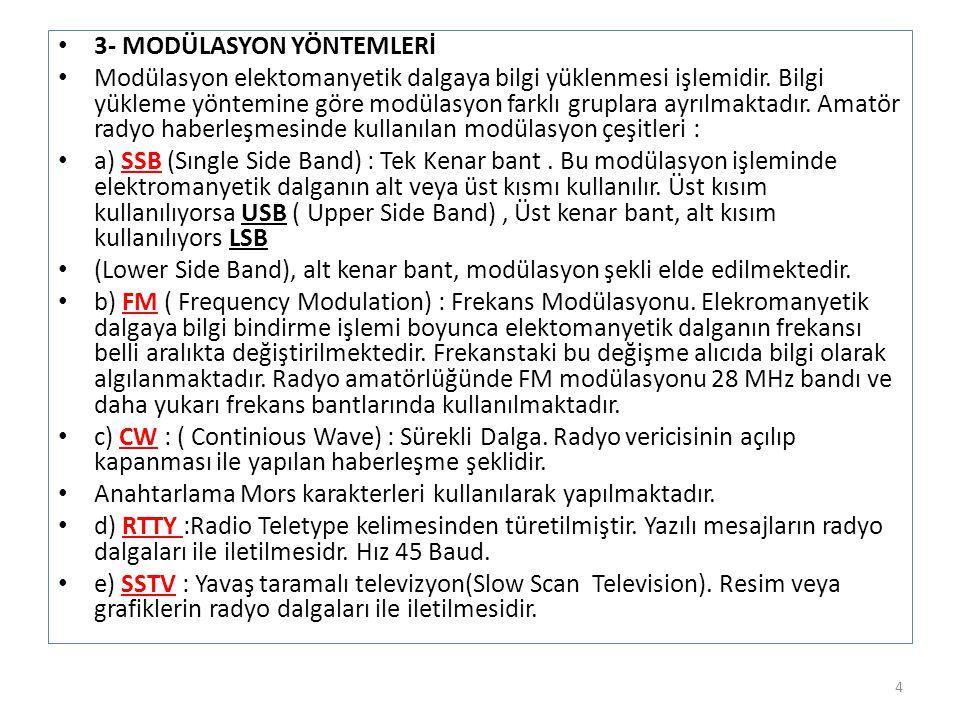 • 3- MODÜLASYON YÖNTEMLERİ • Modülasyon elektomanyetik dalgaya bilgi yüklenmesi işlemidir. Bilgi yükleme yöntemine göre modülasyon farklı gruplara ayr
