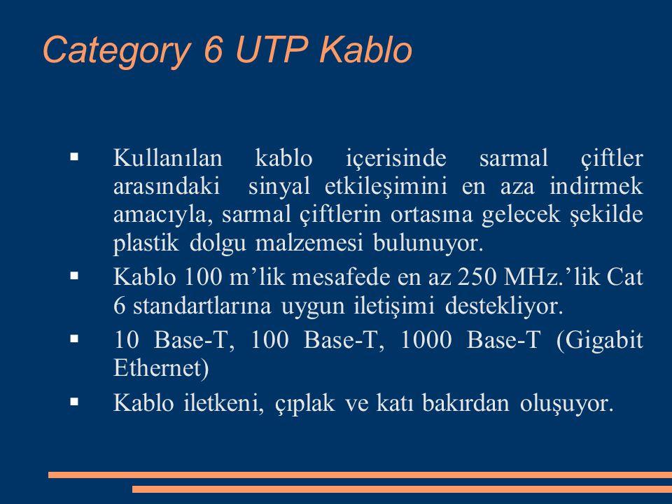 Category 6 UTP Kablo  Kullanılan kablo içerisinde sarmal çiftler arasındaki sinyal etkileşimini en aza indirmek amacıyla, sarmal çiftlerin ortasına gelecek şekilde plastik dolgu malzemesi bulunuyor.