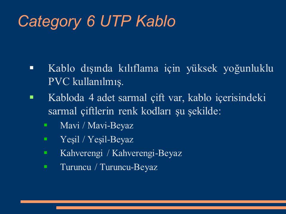 Category 6 UTP Kablo  Kablo dışında kılıflama için yüksek yoğunluklu PVC kullanılmış.  Kabloda 4 adet sarmal çift var, kablo içerisindeki sarmal çif