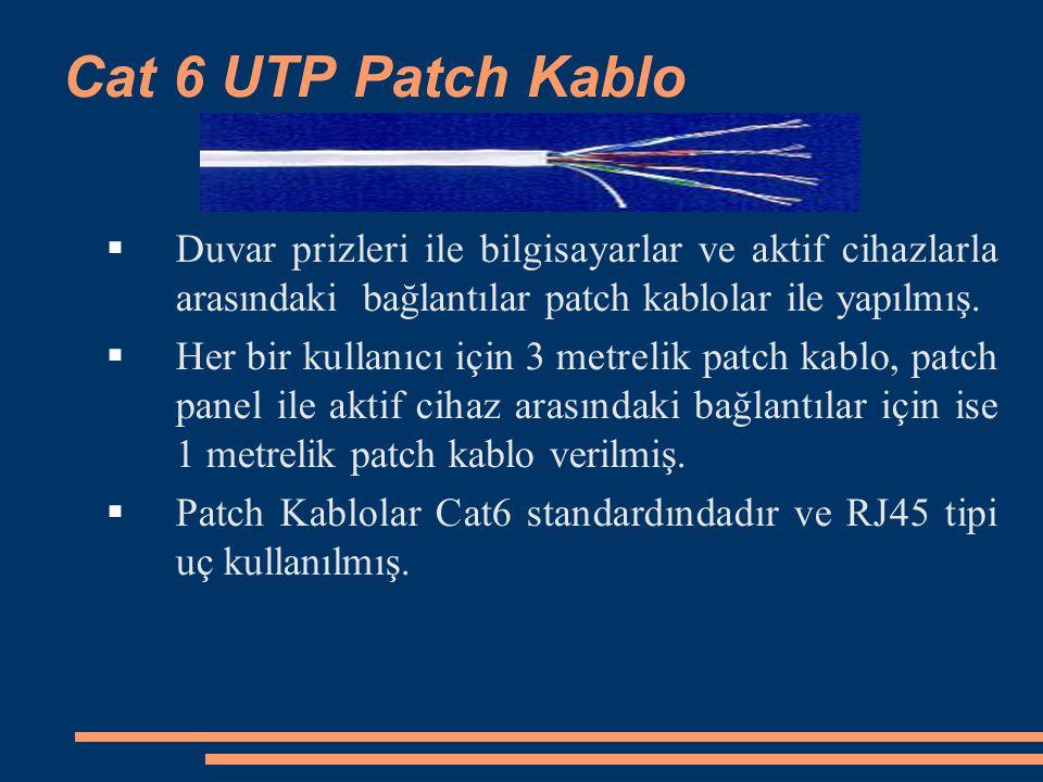 Cat 6 UTP Patch Kablo  Duvar prizleri ile bilgisayarlar ve aktif cihazlarla arasındaki bağlantılar patch kablolar ile yapılmış.  Her bir kullanıcı i