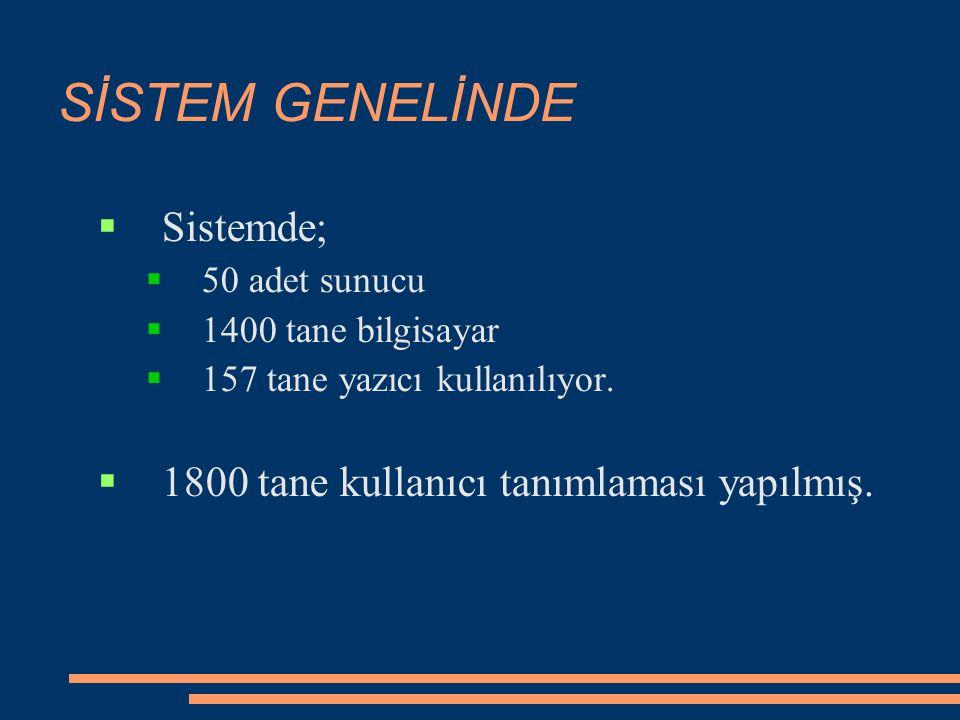 SİSTEM GENELİNDE  Sistemde;  50 adet sunucu  1400 tane bilgisayar  157 tane yazıcı kullanılıyor.