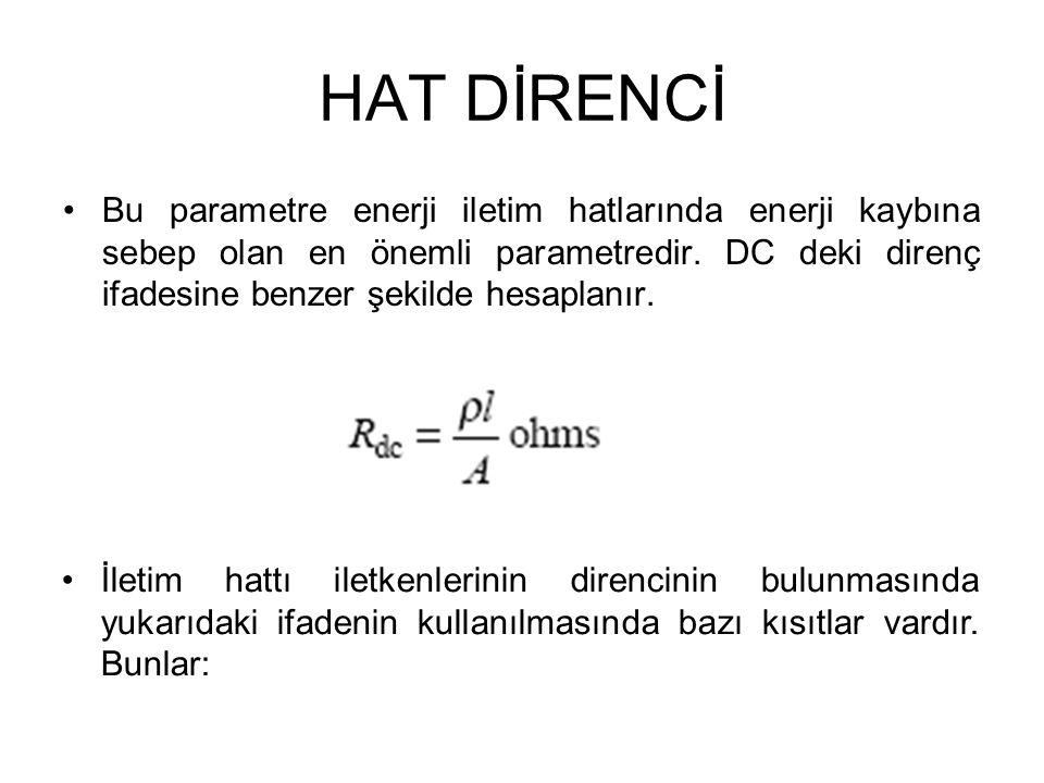 HAT DİRENCİ •Bu parametre enerji iletim hatlarında enerji kaybına sebep olan en önemli parametredir. DC deki direnç ifadesine benzer şekilde hesaplanı