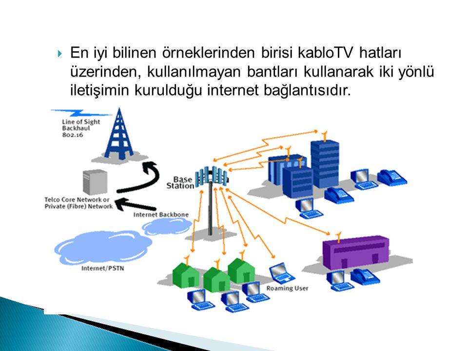  En iyi bilinen örneklerinden birisi kabloTV hatları üzerinden, kullanılmayan bantları kullanarak iki yönlü iletişimin kurulduğu internet bağlantısıd