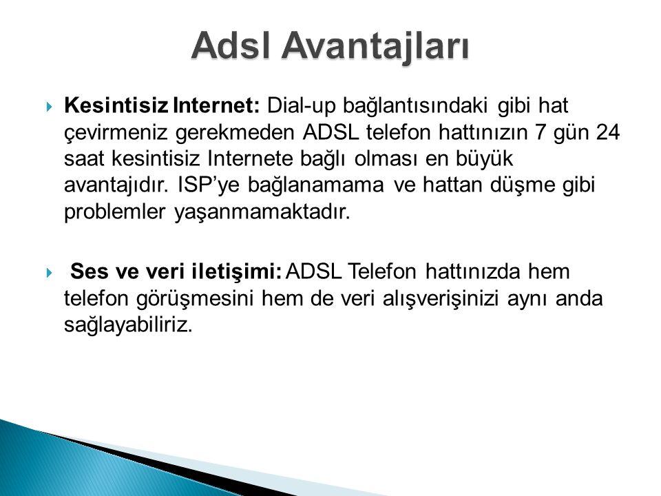  Kesintisiz Internet: Dial-up bağlantısındaki gibi hat çevirmeniz gerekmeden ADSL telefon hattınızın 7 gün 24 saat kesintisiz Internete bağlı olması en büyük avantajıdır.