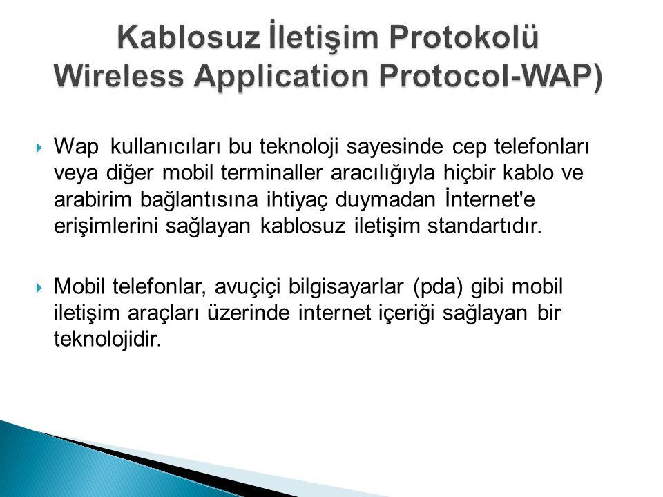  Wap kullanıcıları bu teknoloji sayesinde cep telefonları veya diğer mobil terminaller aracılığıyla hiçbir kablo ve arabirim bağlantısına ihtiyaç duymadan İnternet e erişimlerini sağlayan kablosuz iletişim standartıdır.