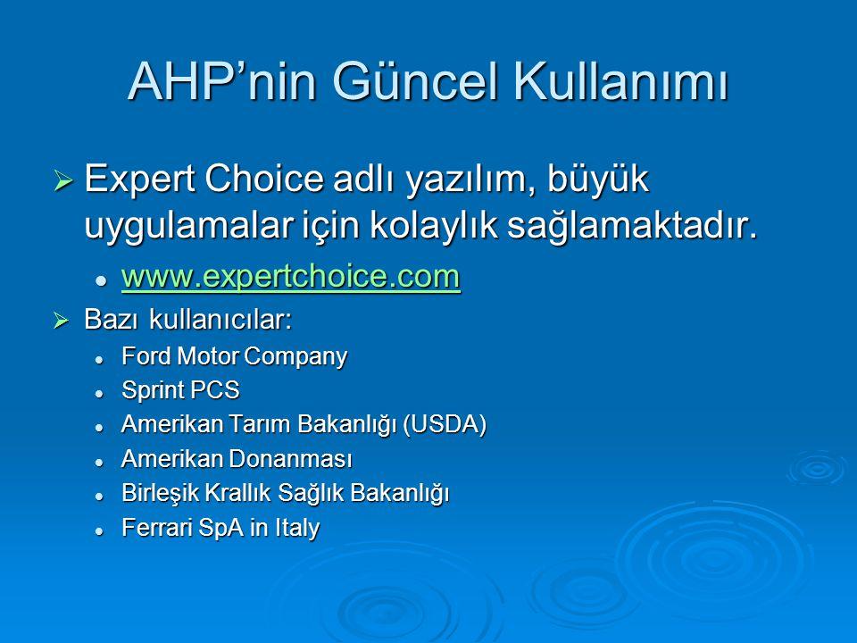 AHP'nin Güncel Kullanımı  Expert Choice adlı yazılım, büyük uygulamalar için kolaylık sağlamaktadır.  www.expertchoice.com www.expertchoice.com  Ba