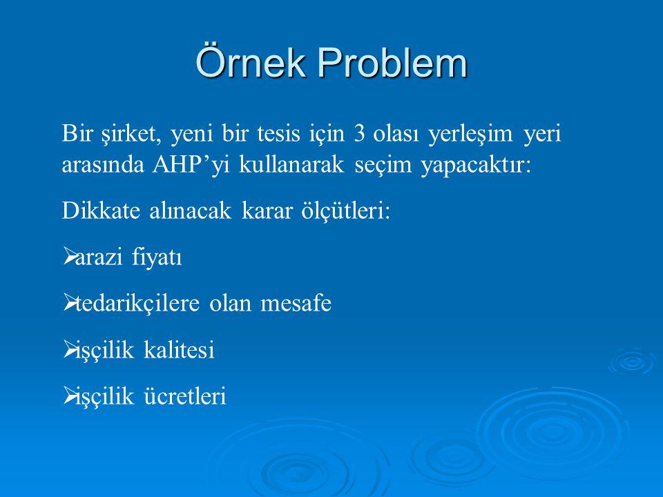Örnek Problem Bir şirket, yeni bir tesis için 3 olası yerleşim yeri arasında AHP'yi kullanarak seçim yapacaktır: Dikkate alınacak karar ölçütleri:  a