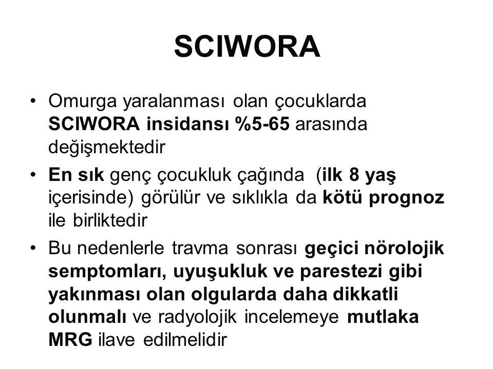 SCIWORA •Omurga yaralanması olan çocuklarda SCIWORA insidansı %5-65 arasında değişmektedir •En sık genç çocukluk çağında (ilk 8 yaş içerisinde) görülür ve sıklıkla da kötü prognoz ile birliktedir •Bu nedenlerle travma sonrası geçici nörolojik semptomları, uyuşukluk ve parestezi gibi yakınması olan olgularda daha dikkatli olunmalı ve radyolojik incelemeye mutlaka MRG ilave edilmelidir