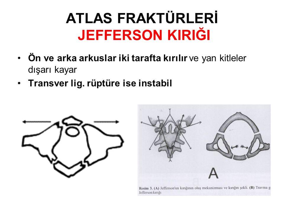 ATLAS FRAKTÜRLERİ JEFFERSON KIRIĞI •Ön ve arka arkuslar iki tarafta kırılır ve yan kitleler dışarı kayar •Transver lig.
