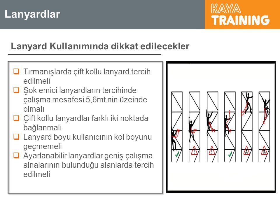 Lanyardlar Lanyard Kullanımında dikkat edilecekler  Tırmanışlarda çift kollu lanyard tercih edilmeli  Şok emici lanyardların tercihinde çalışma mesa