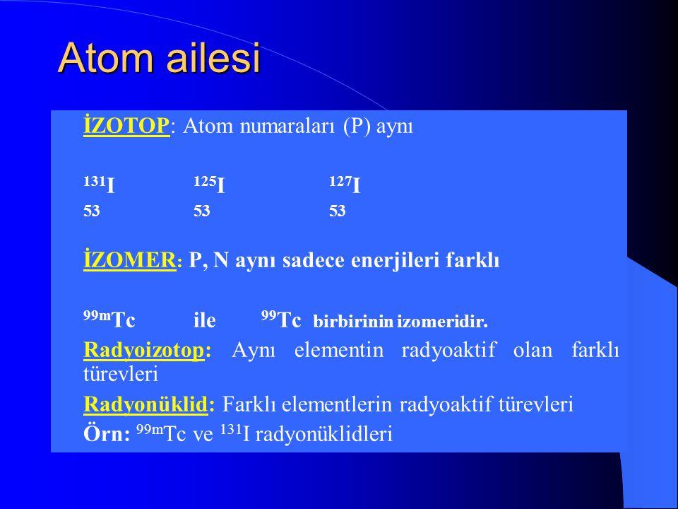 Atom ailesi  İZOTOP: Atom numaraları (P) aynı  131 I 125 I 127 I  535353  İZOMER : P, N aynı sadece enerjileri farklı  99m Tcile 99 Tc birbirinin izomeridir.