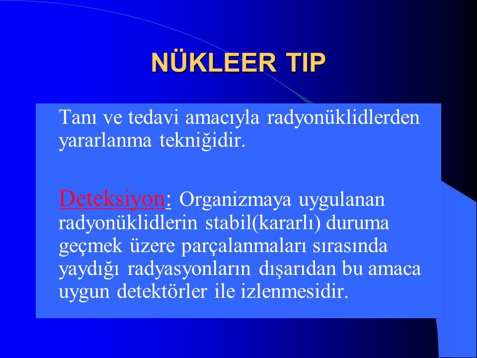 İdeal Radyofarmasötik (Tanı Amaçlı)  Radyasyon Tipi ve Enerjisi: Gama, 100-250 KeV  Elde edilmesi, fiyatı: Kolay, ucuz  Effektif yarılanma: Tetkik süresinin 1.5 katı  Hedef/ zemin tutulumu: Yüksek  Hasta Güvenliği: Radyasyon dozu düşük,  non-toksik, steril