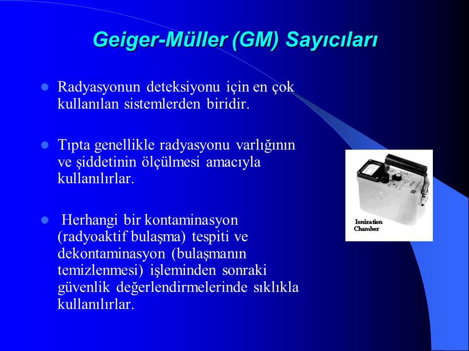 Geiger-Müller (GM) Sayıcıları  Radyasyonun deteksiyonu için en çok kullanılan sistemlerden biridir.