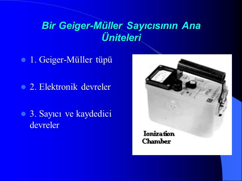 Bir Geiger-Müller Sayıcısının Ana Üniteleri  1.Geiger-Müller tüpü  2.