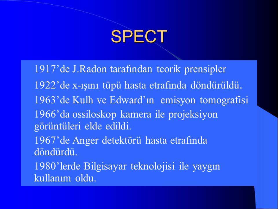 SPECT  1917'de J.Radon tarafından teorik prensipler  1922'de x-ışını tüpü hasta etrafında döndürüldü.