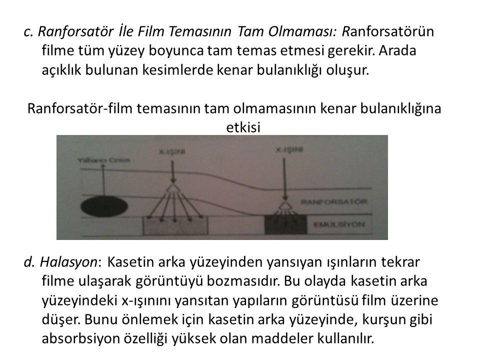 c. Ranforsatör İle Film Temasının Tam Olmaması: Ranforsatörün filme tüm yüzey boyunca tam temas etmesi gerekir. Arada açıklık bulunan kesimlerde kenar