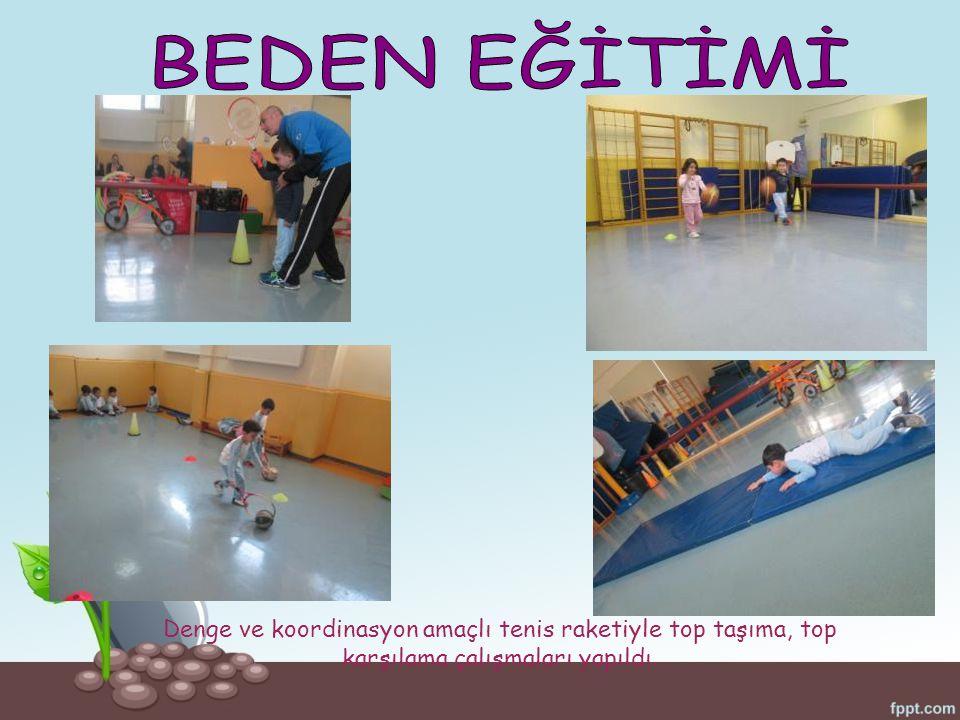 Denge ve koordinasyon amaçlı tenis raketiyle top taşıma, top karşılama çalışmaları yapıldı.