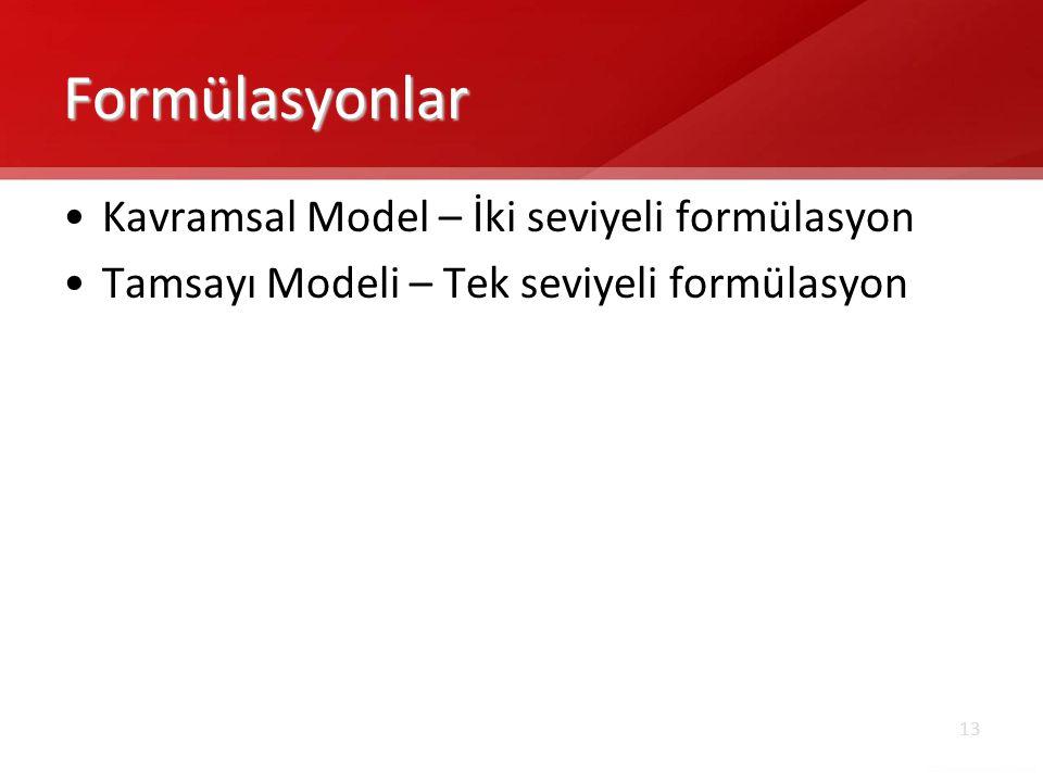 13 Formülasyonlar •Kavramsal Model – İki seviyeli formülasyon •Tamsayı Modeli – Tek seviyeli formülasyon