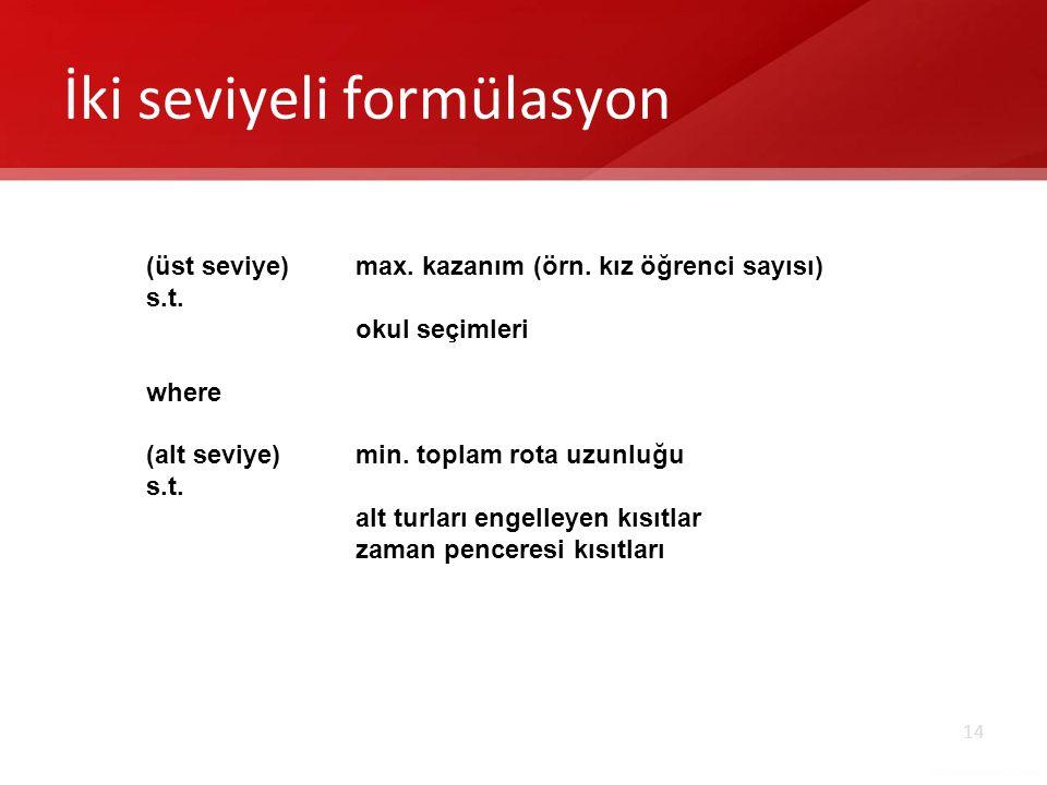 14 İki seviyeli formülasyon (üst seviye)max.kazanım (örn.