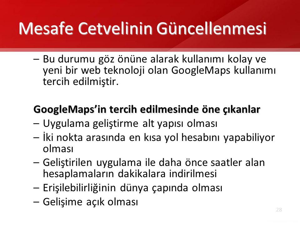 28 Mesafe Cetvelinin Güncellenmesi –Bu durumu göz önüne alarak kullanımı kolay ve yeni bir web teknoloji olan GoogleMaps kullanımı tercih edilmiştir.