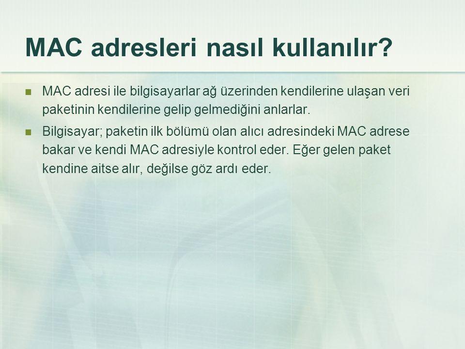 MAC adresleri nasıl kullanılır?  MAC adresi ile bilgisayarlar ağ üzerinden kendilerine ulaşan veri paketinin kendilerine gelip gelmediğini anlarlar.