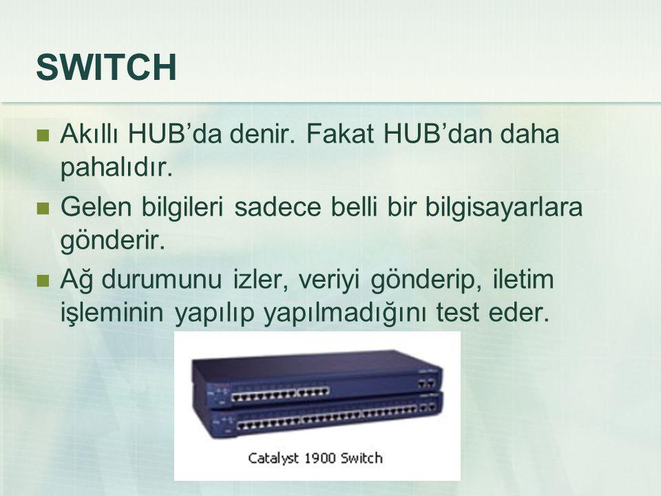 SWITCH  Akıllı HUB'da denir. Fakat HUB'dan daha pahalıdır.  Gelen bilgileri sadece belli bir bilgisayarlara gönderir.  Ağ durumunu izler, veriyi gö