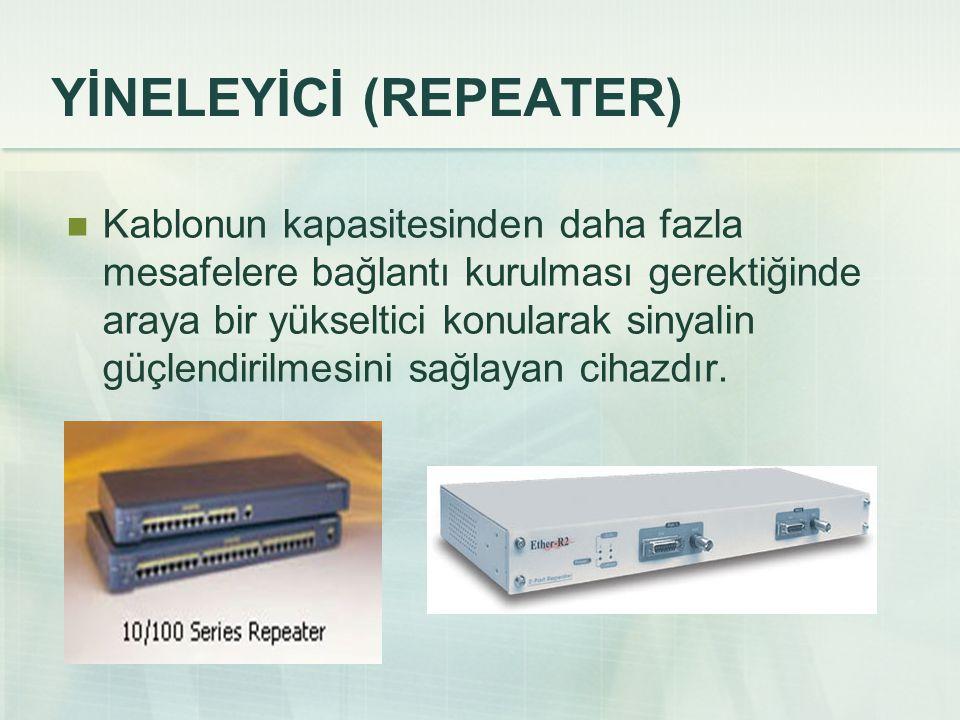YİNELEYİCİ (REPEATER)  Kablonun kapasitesinden daha fazla mesafelere bağlantı kurulması gerektiğinde araya bir yükseltici konularak sinyalin güçlendi