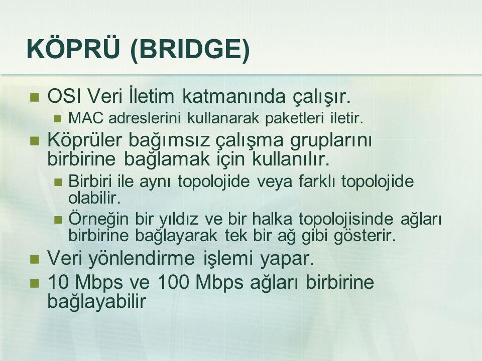 KÖPRÜ (BRIDGE)  OSI Veri İletim katmanında çalışır.  MAC adreslerini kullanarak paketleri iletir.  Köprüler bağımsız çalışma gruplarını birbirine b