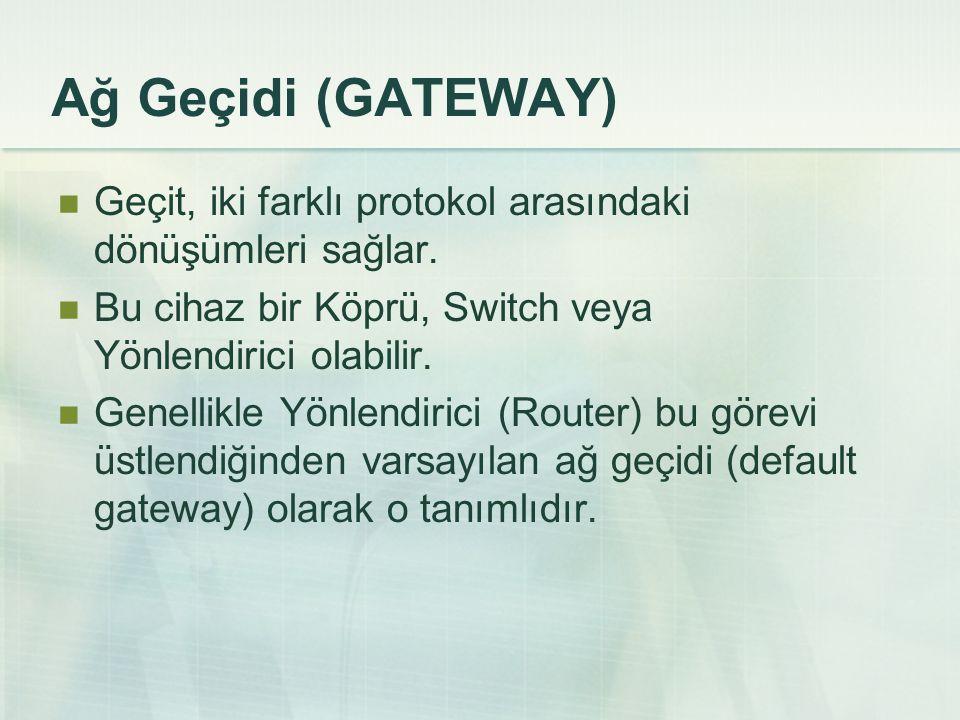 Ağ Geçidi (GATEWAY)  Geçit, iki farklı protokol arasındaki dönüşümleri sağlar.  Bu cihaz bir Köprü, Switch veya Yönlendirici olabilir.  Genellikle