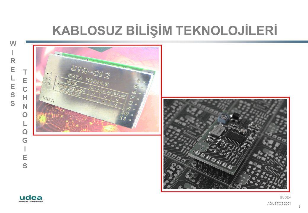 WIRELESSWIRELESS TECHNOLOGIESTECHNOLOGIES ©UDEA AĞUSTOS 2004 1 KABLOSUZ BİLİŞİM TEKNOLOJİLERİ
