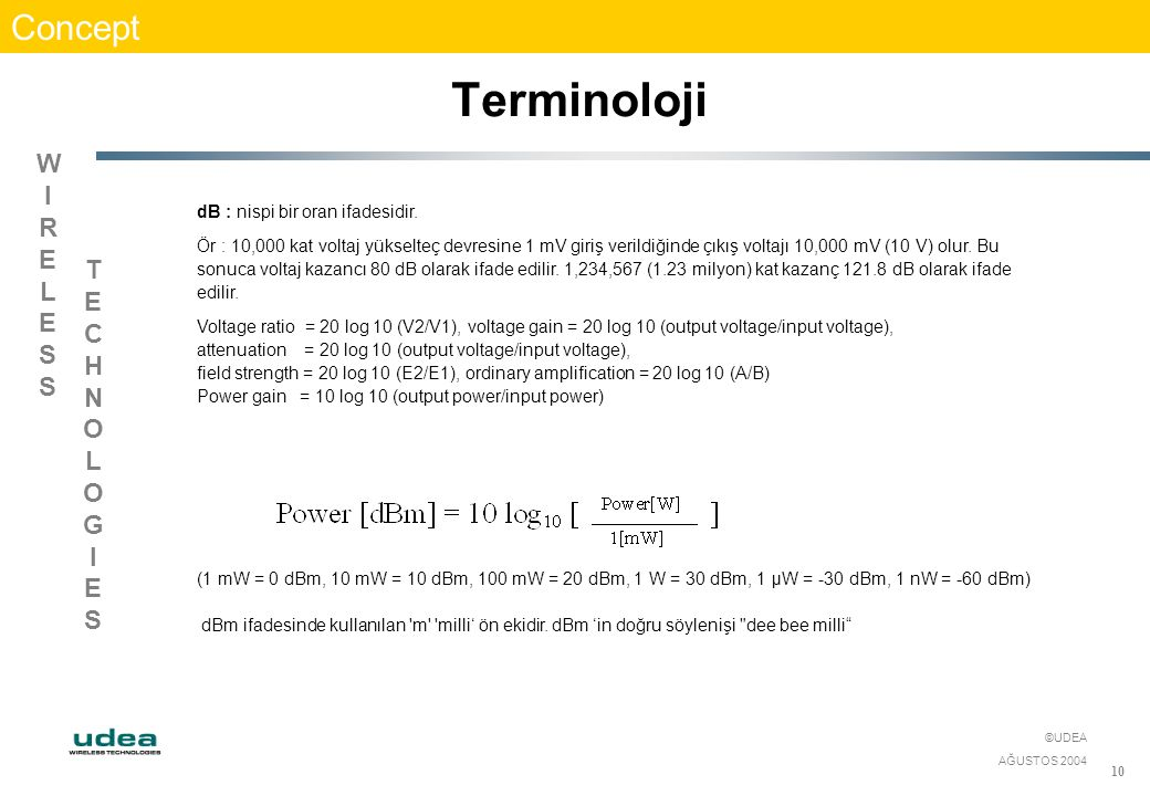 WIRELESSWIRELESS TECHNOLOGIESTECHNOLOGIES ©UDEA AĞUSTOS 2004 10 Concept Terminoloji dB : nispi bir oran ifadesidir. Ör : 10,000 kat voltaj yükselteç d