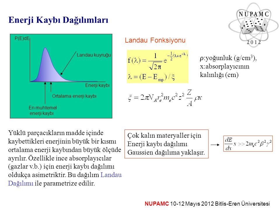 NUPAMC 10-12 Mayıs 2012 Bitlis-Eren Üniversitesi Enerji Kaybı Dağılımları YükY Yüklü parçacıkların madde içinde kaybettikleri enerjinin büyük bir kısm