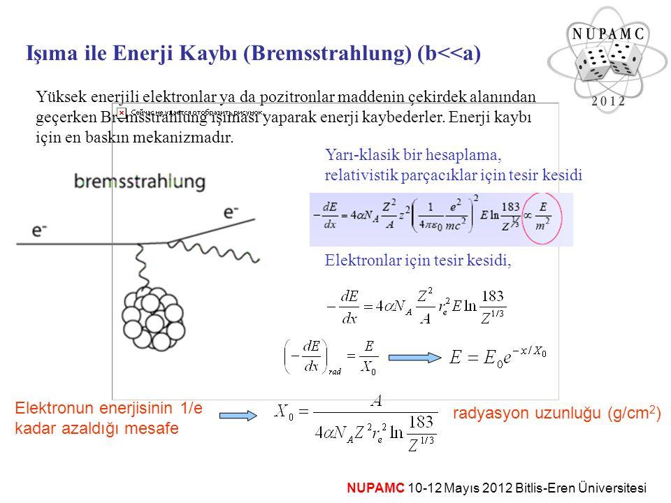 NUPAMC 10-12 Mayıs 2012 Bitlis-Eren Üniversitesi Işıma ile Enerji Kaybı (Bremsstrahlung) (b<<a) Yüksek enerjili elektronlar ya da pozitronlar maddenin